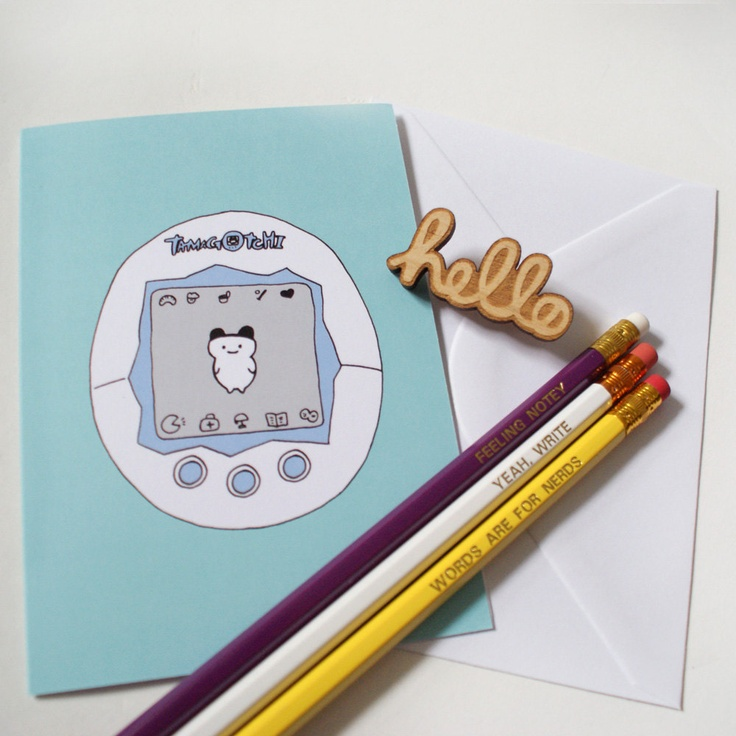 Hello Tamagotchi! This is the perfect present for your 90's loving bestie :)  Best Friend Gift Set: Tamagotchi Card, Hello Brooch, Geek Pencils.