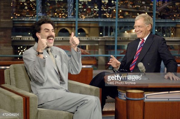 Borat, the fictional Kazakhstani journalist portrayed by comedian Sacha Baron Cohen, makes his first late night talk Show appearance when he visits the LATE Show with DAVID LETTERMAN Monday, Oct. 30 2006 on the CBS Television Network. Borat stars in the new film, 'Borat: Cultural Learnings of America for Make Benefit Glorious Nation of Kazakhstan,' which hits theaters Friday, Nov. 3. This photo is provided by CBS from the Late Show with David Letterman photo archive.