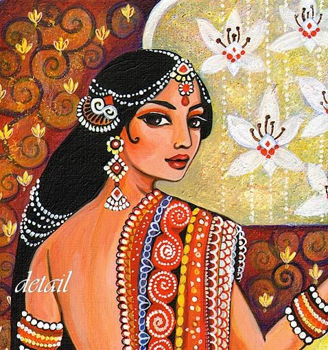Traditional Indian Painting Indian Woman Goddess Art by evitaworks