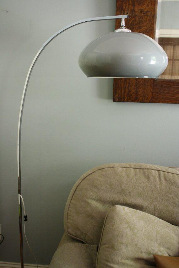 Mid Century Chrome Blue Globe Arc Floor Lamp Retro Retro