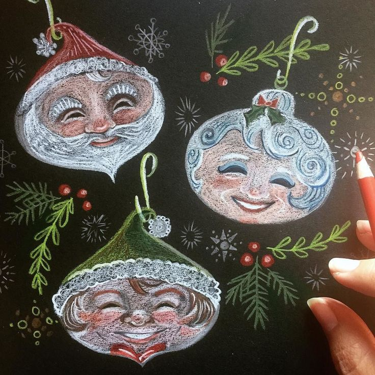 Colored pencils  black paper = texture  but  ouch! My daily Christmas post though not the typical #watercolorwonderland -type post.