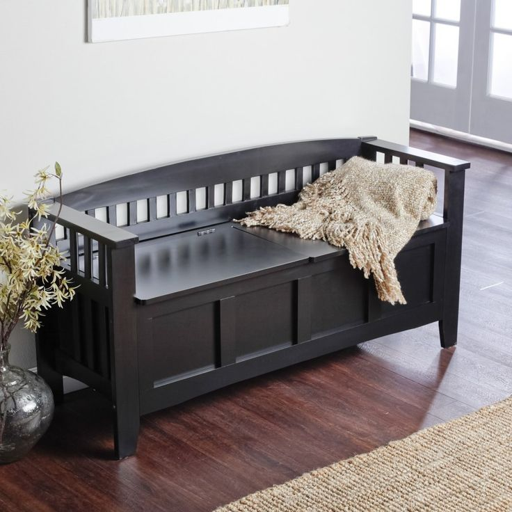 Linon Hunter Storage Bench Graceful And Elegant The Linon Hunter Storage Bench Has Incredible Versatility And Character Allowing You To Place It Anywhere In Your Home