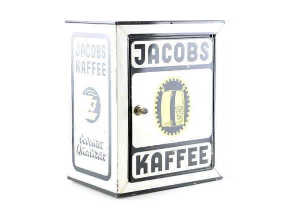 Vintage JACOBS Kaffee Schränkchen kleiner Blechschrank alte