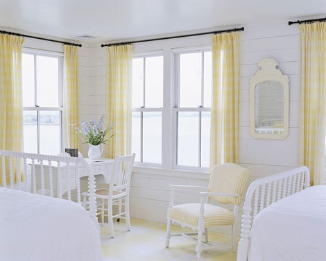 cottage styleGuest Room, Decor Ideas, Beach House, Cottages Bedrooms, Yellow Bedrooms, Twin Beds, White Bedrooms, Bathroom Ideas, Yellow Cottage