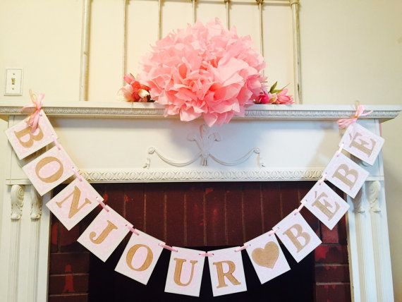 Here is a beautiful chipboard banner for your French themed baby shower or nursery!!  This banner is made with 4x5 inch white chipboard