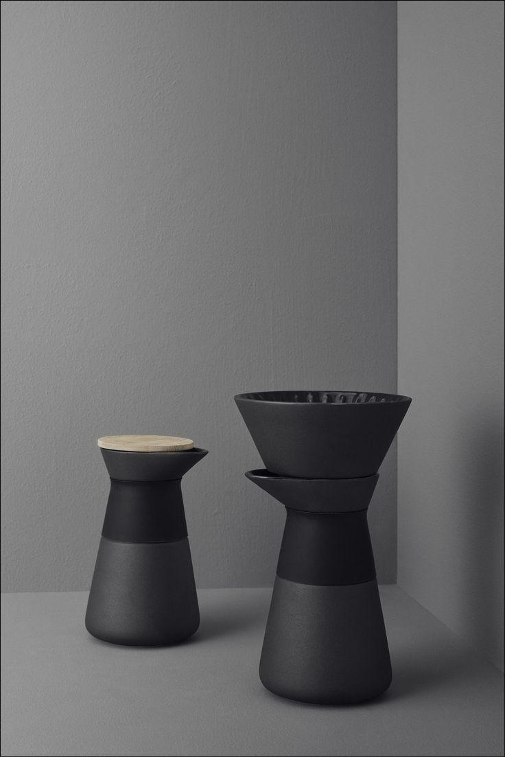 The Theo series from Menu includes a coffee maker, teapot, teapot warmer and mugs.