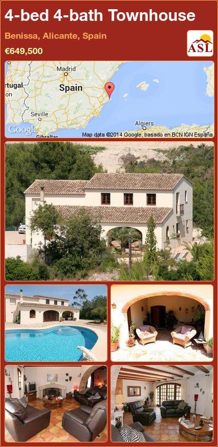 4-bed 4-bath Townhouse in Benissa, Alicante, Spain ►€649,500 #PropertyForSaleInSpain