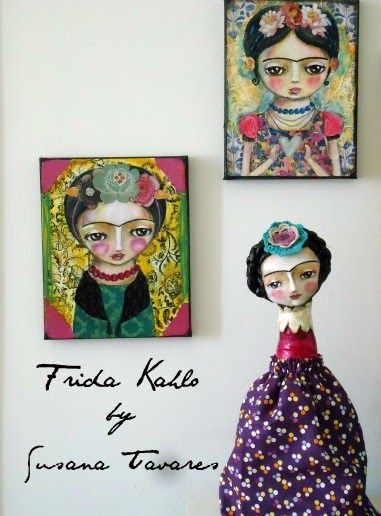 Frida Kahlo painting and art doll by Susana Tavares
