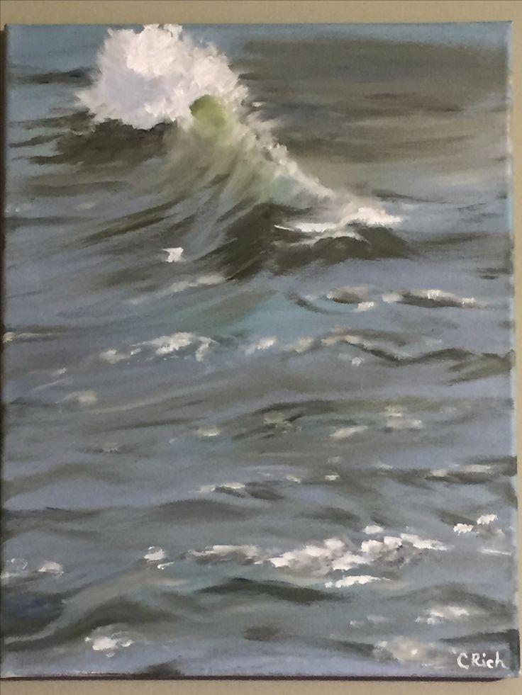 Wave-oil on canvas by carol rich