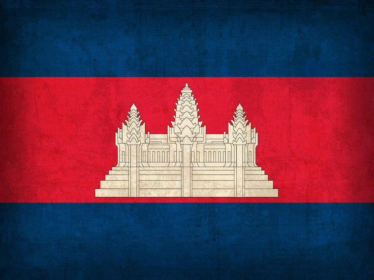 Cambodia Flag Vintage Distressed Finish Mixed Media