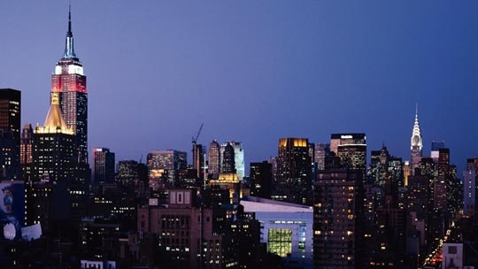 Night skyline view of CUNY- Baruch College campus (City University of New York: Baruch College) and New York City