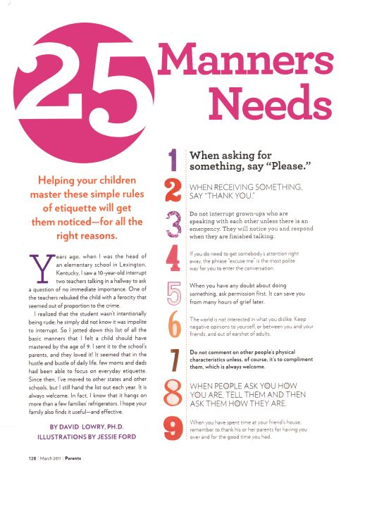 25 manners for kids need o know by age 9