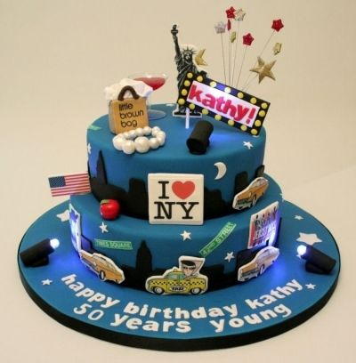 50th Birthday New York skyline cake By allaboutcakeuk on CakeCentral.com Deeper tiers, fewer taxis