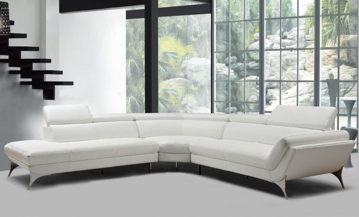 Divani Casa Graphite Modern White Leather Sectional Sofa Med