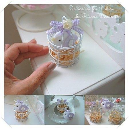 Mini gaiola com passarinho - Dellicatess for Babies