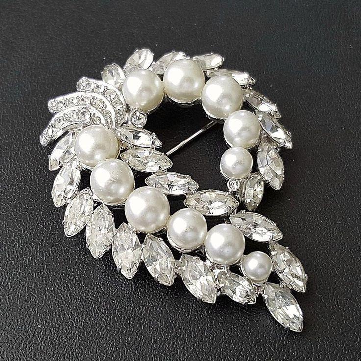 Signed EISENBERG Vintage Brooch Pin Pearl Leaf Marquise Rhinestone Wedding B345 #Eisenberg