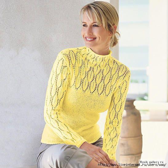пуловер с ажурными рукавами листочками схема