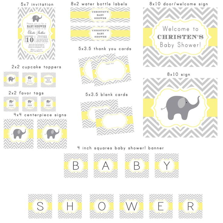 Gray and Light Butter Yellow Elephant Chevron by NotableAffairs