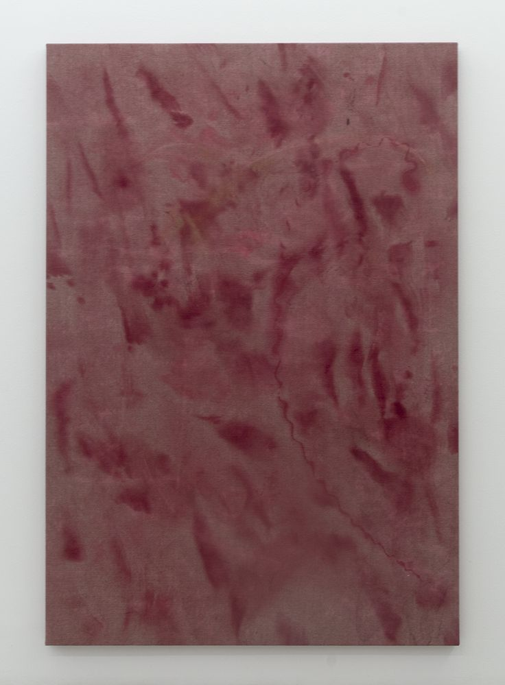 Magni Borgehed: Untitled (13 true stories series #5) 2016 190 x 130 cm Ink, silk paint, baby oil, and bleach on denim