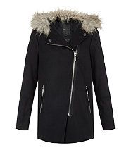 Navy (Blue) Navy Faux Fur Trim Hooded Biker Duffle Coat | 314379441 | New Look