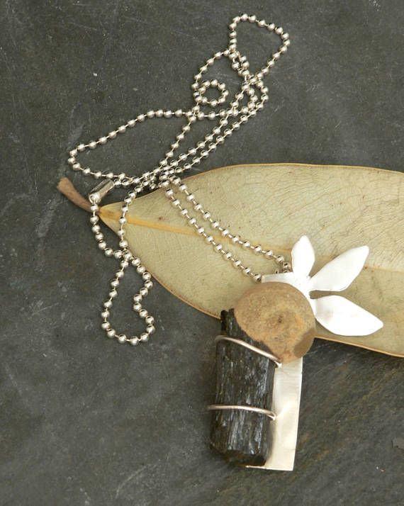 Bamboo Stalk Necklace in Sterling Silver with Prehnite and