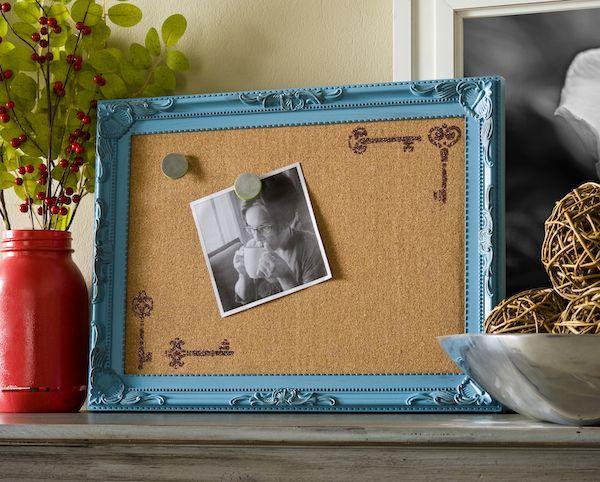 Decorate a corkboard with new Mod Podge Rocks stencils