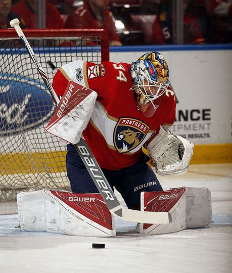 SUNRISE, FL - MARCH 23: Goaltender James Reimer #34 of the Florida Panthers warms up on the ice prior to the start of the game against the Arizona Coyotes at the BB&T Center on March 23, 2017 in Sunrise, Florida. (Photo by Eliot J. Schechter/NHLI via Getty Images)