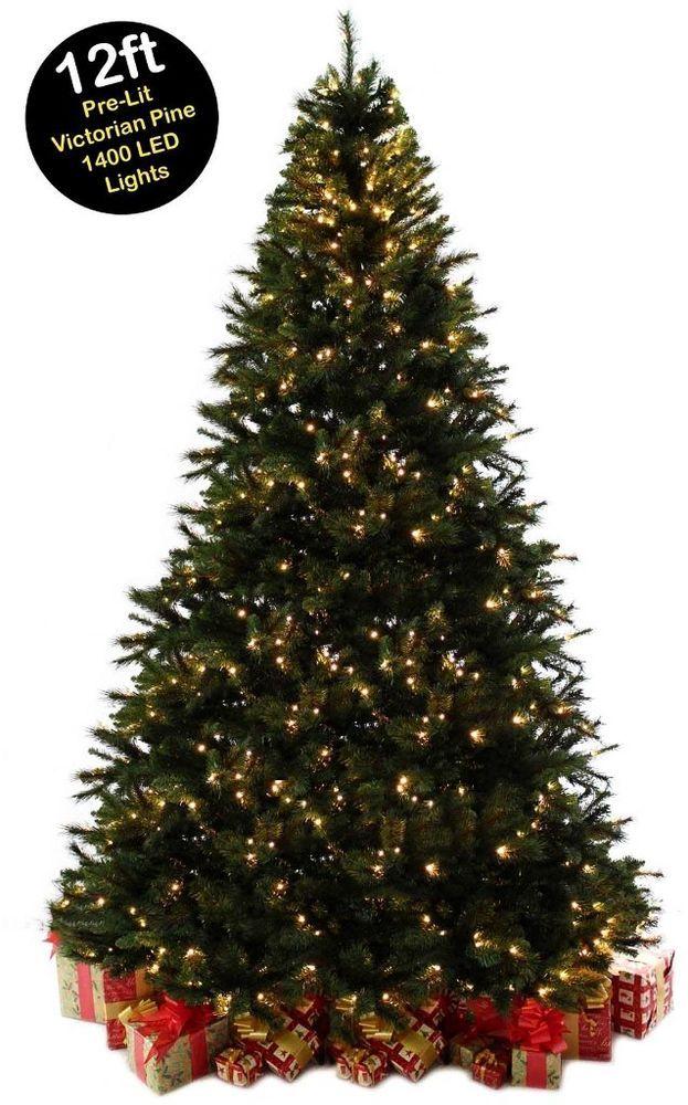 Giant Christmas Tree 12ft Pre Lit Commercial Led Lights Pine Metal