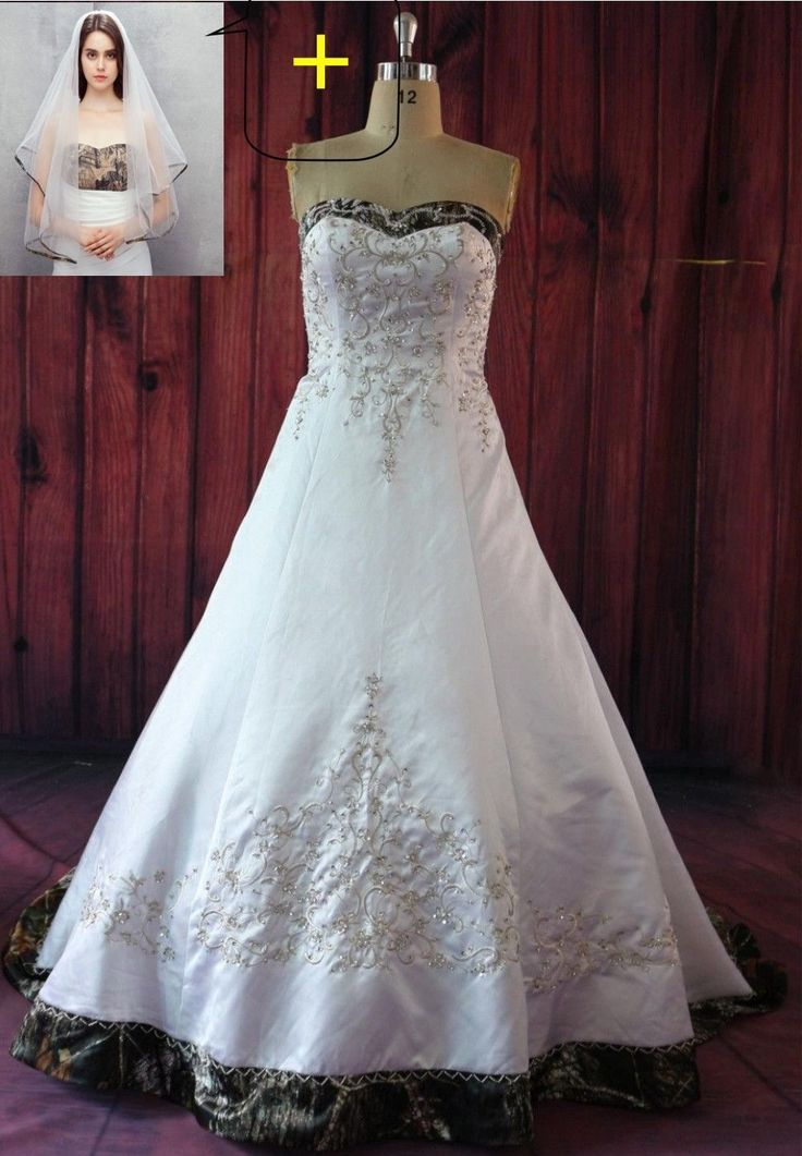 97.25$  Watch here - http://vicdi.justgood.pw/vig/item.php?t=nnqc36933901 - New Camo Wedding Dresses Ball Gown Camouflage Embroidery Bridal Gowns Veil Free 97.25$