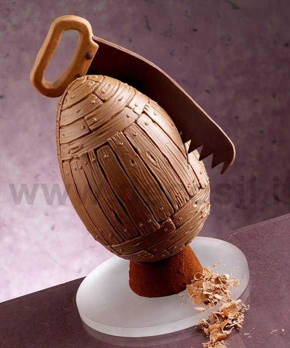Stampo per realizzare uovo in cioccolato, stile legno. Uovo di Pasqua. www.decosil.it