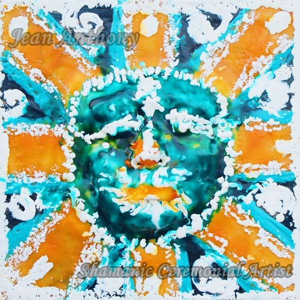 Third Eye Shaman ~ Encaustic Wax on 12x12 Cradled Birch Panel.  Soul Art ~ Private Collection http://jeananthony.net/art/