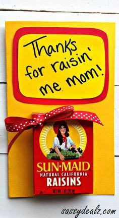 """""""Thanks for Raisin' Me"""" Mother's Day Card for kids to make! #Cheesy gift idea 