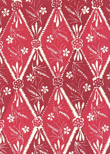Kathryn Ireland Collection: Batik Pattern: Diamond Style No: 2912 Color: Red Content: 100% linen Width: 54 in Repeat: 28 in
