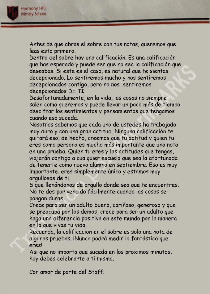 Lee esta carta que estudiantes en Irlanda recibieron antes de ver sus resultados de una prueba.