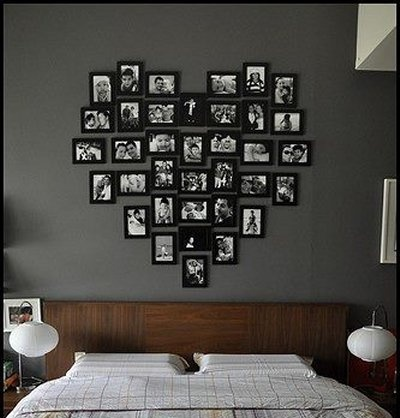 Wall decor picture frames in a heart shape nice - How to decorate bedroom walls ...