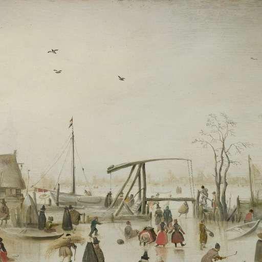 Schaatsenrijden in een dorp, Hendrick Avercamp, ca. 1610