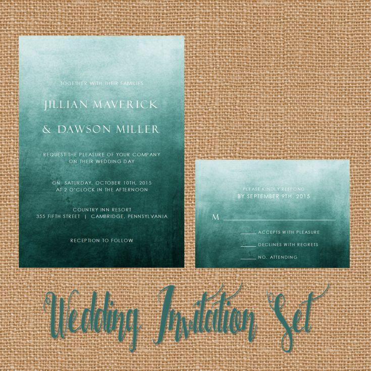 Teal Dark Turquoise Ombre Watercolor Wedding by WhiteLaceStylists