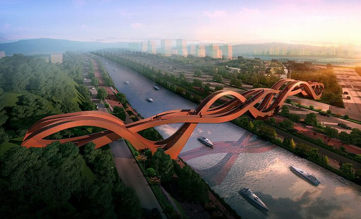NEXT Architects created this sinuous pedestrian bridge for Changsha, China. It will be over the Dragon King Harbor River. It's a nearly 500-foot-long bridge inspired by traditional Chinese knots and the Möbius strip. The design was recently selected in an international competition and construction will begin next year. Meili W.