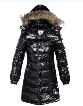 Moncler Cheap Outlet Classic Windproof Hooded Women Coat Long Sleeve Black  Online With 72% Off