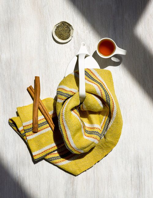 Summer Yellow Hand Towel and Tea -- Handwoven for the modern kitchen.