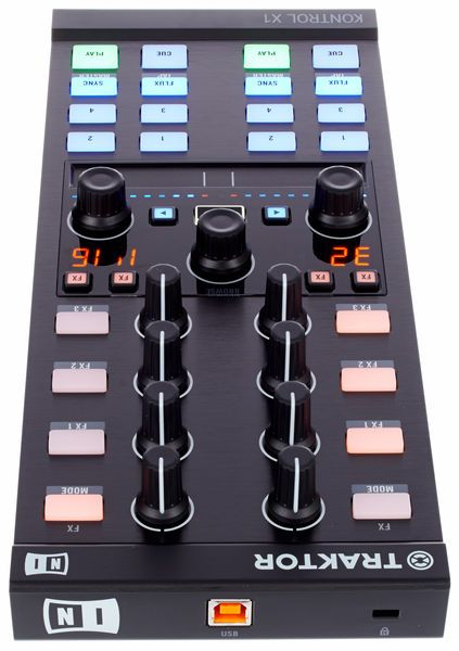Native Instruments Traktor Kontrol X1 MKII, USB DJ controller, coloured touchsensitive RGB Click Buttons: 30 Buttons, 3 Push-Buttons thomann and 8 Rotary Knobs, Touchstrip for Position- and Tempocontrol, Display for Loop Length, plug & play, instant recognition by Traktor, ...
