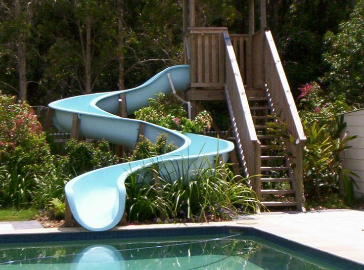 Swimming pool water slide modular sections diy for Pool design with slide