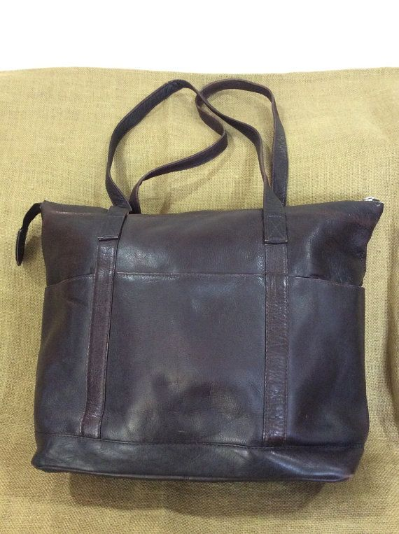 Vintage Genuine Brown Leather Shopping Tote Bag Colombia Book