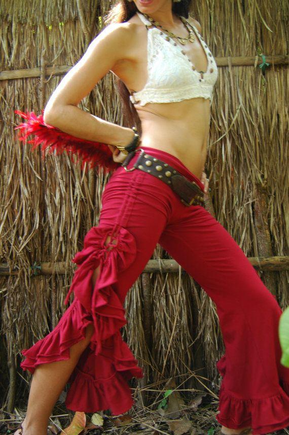 Tribal Bellydance Ruffle Pants-Red por EmbodhiDesigns en Etsy