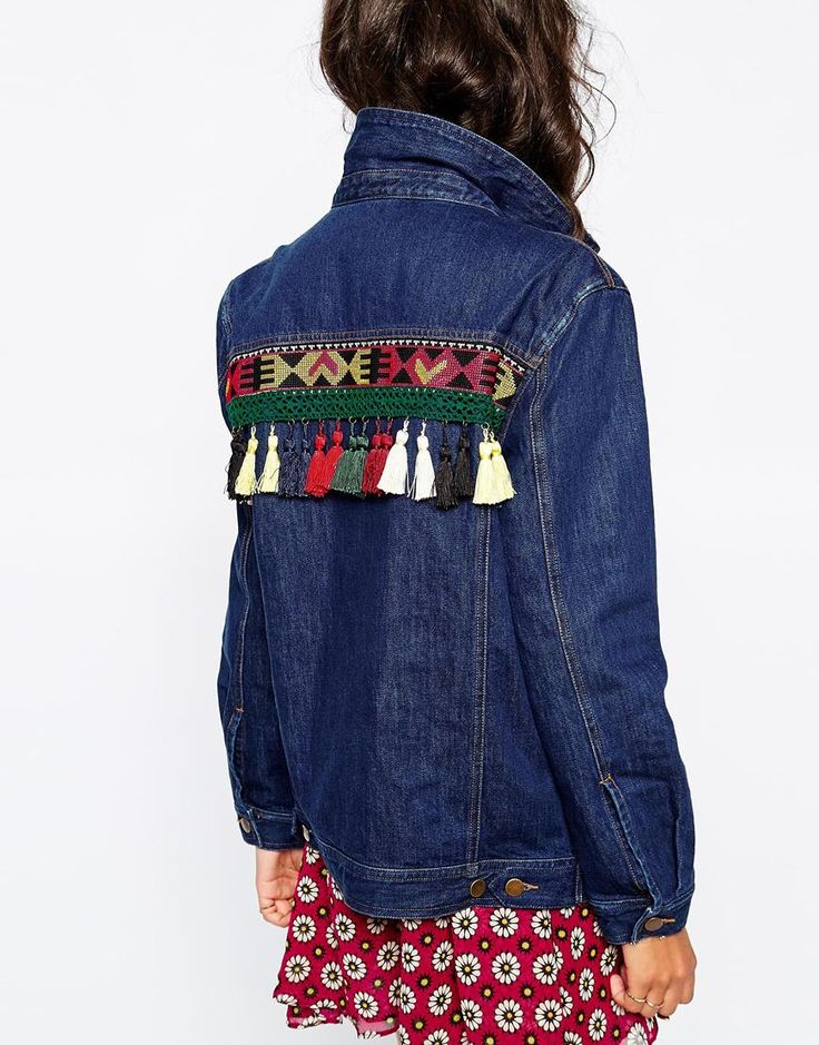 Image 3 ofNative Rose Rainbows All Over Your Blues Denim Festival Jacket with Embroidery