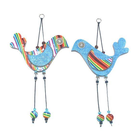 Amore uccelli variopinti, parete elegante uccelli arredamento d'amore, del polimero Handmade uccelli di argilla, coppia di uccelli in colori arcobaleno, coppia romantica