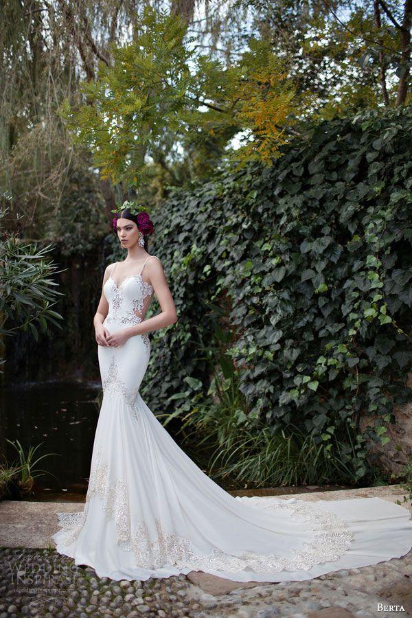 berta 2015 bridal stunning sheath wedding dress beaded straps lace bodice
