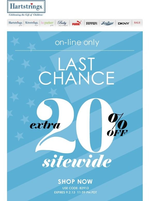 Only 1 Day Left ★ Extra 20% OFF Sitewide Labor Day Sale ★ Act Now -! - Hartstrings