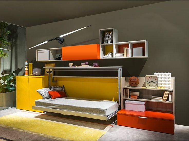 Storage wall with fold-away bed Cabrio Collection by CLEI | design Giulio Manzoni, Pierluigi Colombo