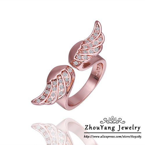 18KGP R248 Wings  18K Gold Plated Ring Health Jewelry Nickel Free K Golden Plating Rhinestone Austrian Crystal $181,78